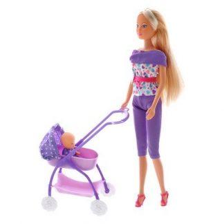 Кукла Steffi & Evi Love Штеффи и коляска с малышом Лиловая