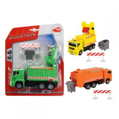 Мусоровоз Dickie Toys с контейнером и оградой 22 см (зеленый, оранжевый)