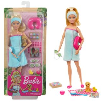 Кукла Barbie Активный отдых Блондинка со щенком и аксессуарами