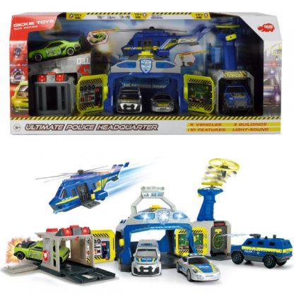 Набор Dickie Toys Управление полиции с 4 машинами и вертолетом, со светом и звуком