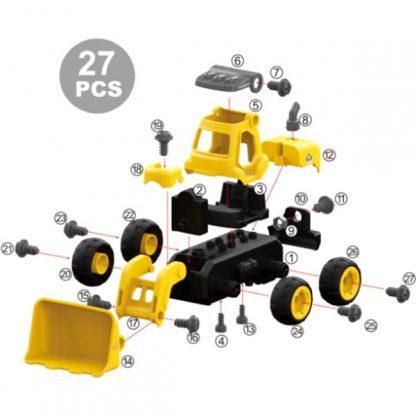 Конструктор DIY Spatial Creativity Бульдозер с электродвигателем и пультом управления 27 деталей