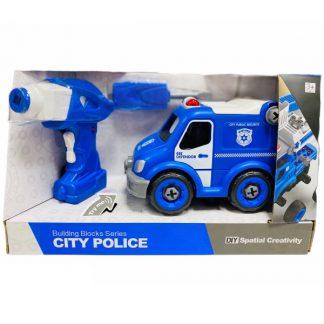 Конструктор DIY Spatial Creativity Полицейский грузовик с электродвигателем и пультом управления 21 деталь