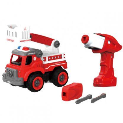 Конструктор DIY Spatial Creativity Пожарная машина с электродвигателем и пультом управления 33 детали