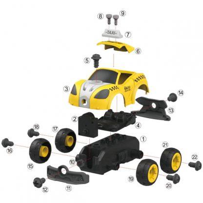 Конструктор DIY Spatial Creativity Такси с электродвигателем и пультом управления 22 детали