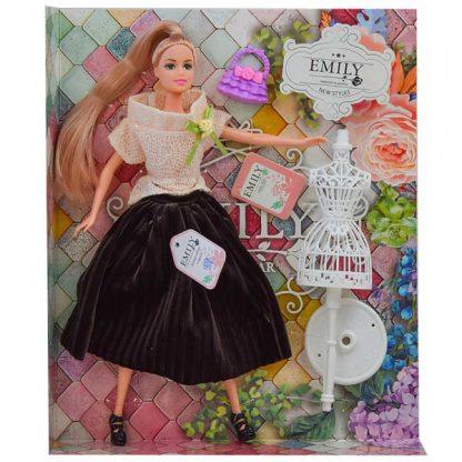 Кукла Emily Блондинка в коричневой юбке и бежевом топе