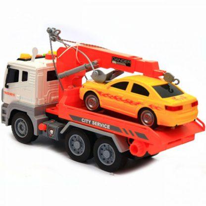 Инерционная Машина Эвакуатор с гоночной машиной в комплекте со светом и звуком