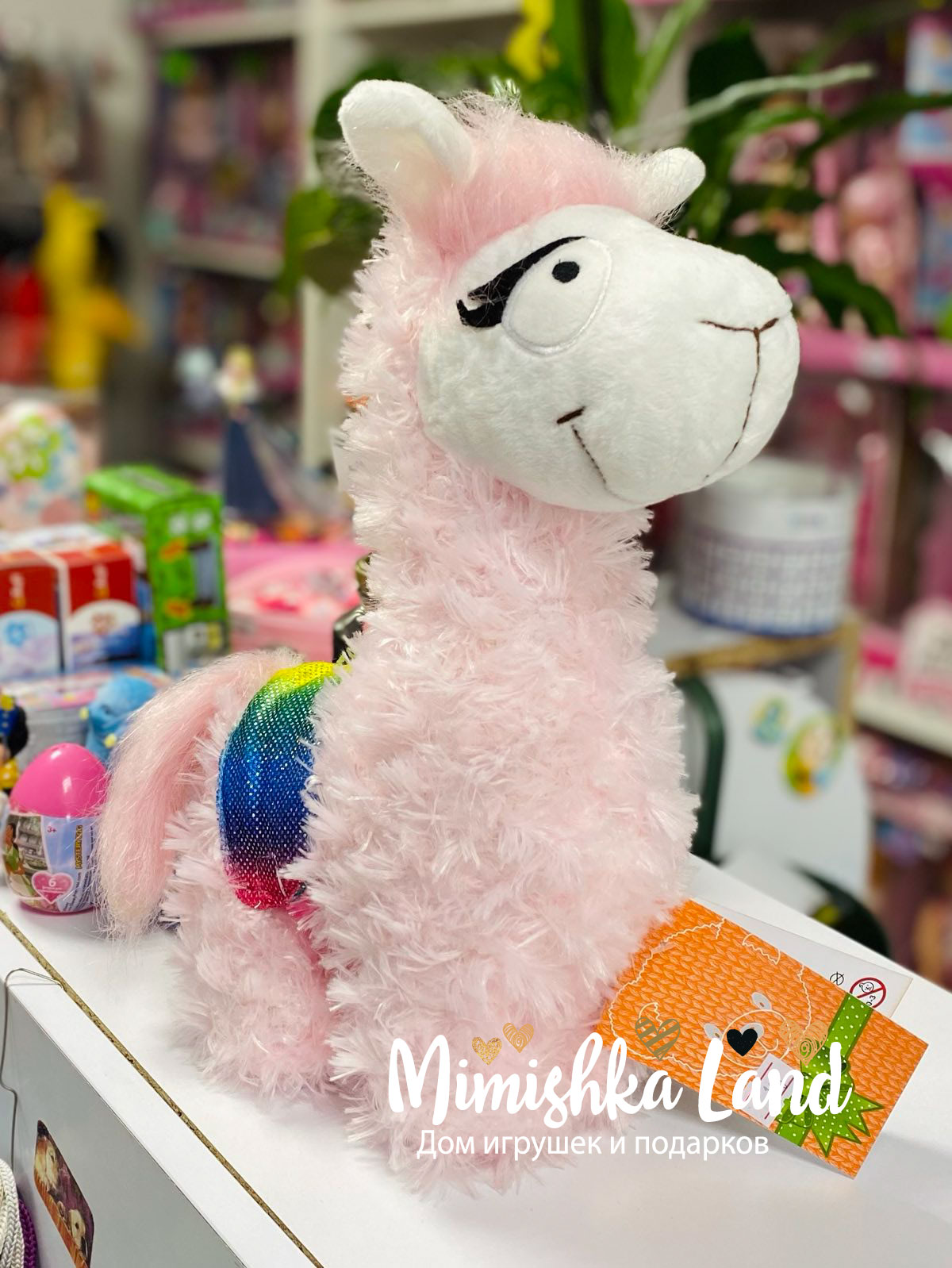 Витрина магазина: Мягкая игрушка Розовая Лама 25 см