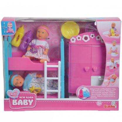 Кукольный набор 2 мини-пупса и спальня New Born Baby New Born Baby Simba