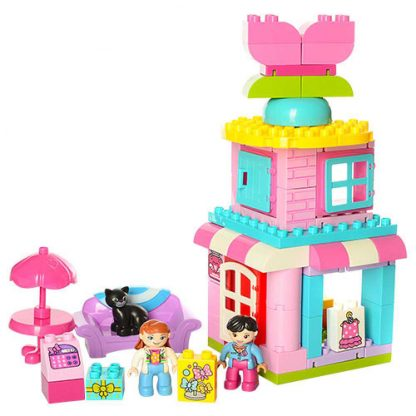 Конструктор для малышей JDLT Магазин аксессуаров 65 деталей 2 фигурки (аналог Lego Duplo)