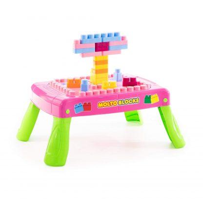 Игровой набор с конструктором розовый с элементом вращения 20 элементов