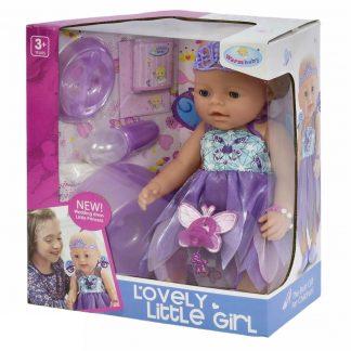 Пупс Lovely Little Girl Маленькая принцесса-фея аналог Baby Born с аксессуарам (в фиолетовых тонах)