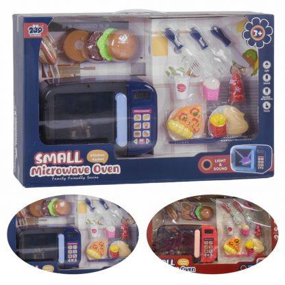 Детская микроволновая печь с продуктами и приборами в комплекте, со звуком и светом, в ассортименте