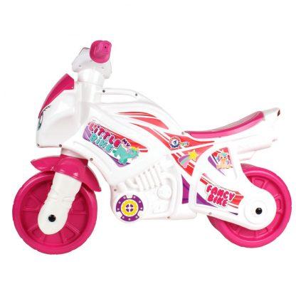 Мотоцикл ТехноК бело-розовый со звуковыми и световыми эффектами