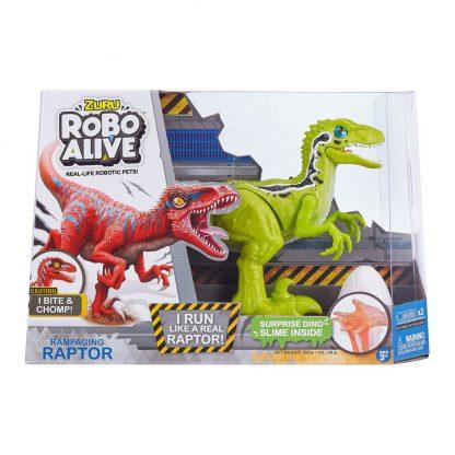 Интерактивный динозавр Robo Alive Зеленый Велоцираптор со слаймом