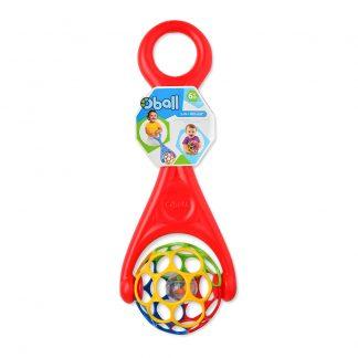 Игрушка-Каталка Oball 2-в-1 с мячом и погремушкой (красная)