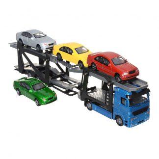 Автотранспортер Dickie Toys Синий тягач с 4 машинками 28 см